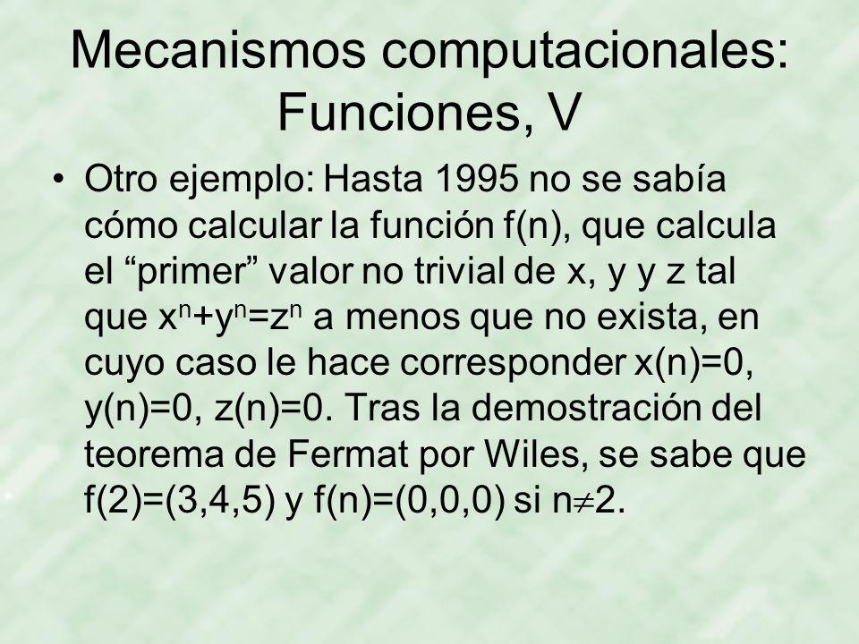 Mecanismos computacionales: Funciones, V Otro ejemplo: Hasta 1995 no se sabía cómo calcular la función f(n), que calcula el primer valor no trivial de