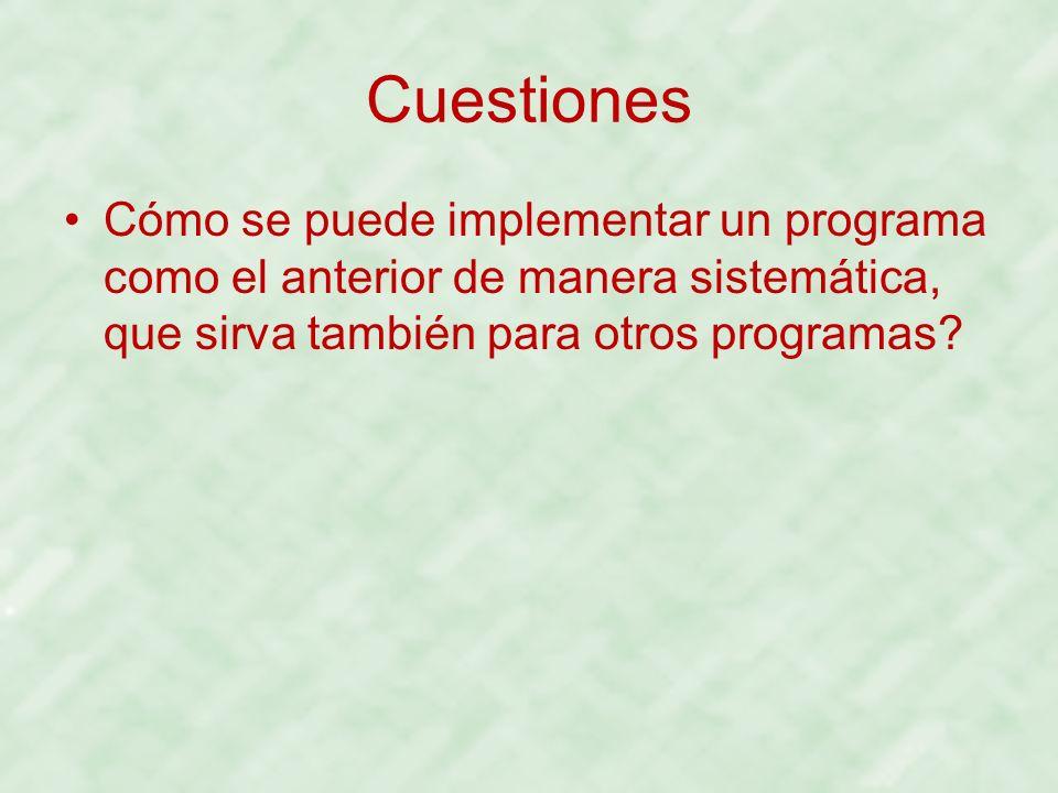 Cuestiones Cómo se puede implementar un programa como el anterior de manera sistemática, que sirva también para otros programas?