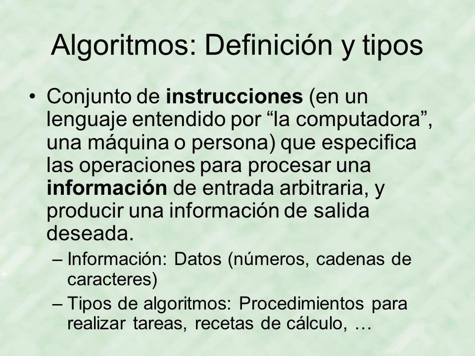 Algoritmos: Definición y tipos Conjunto de instrucciones (en un lenguaje entendido por la computadora, una máquina o persona) que especifica las opera
