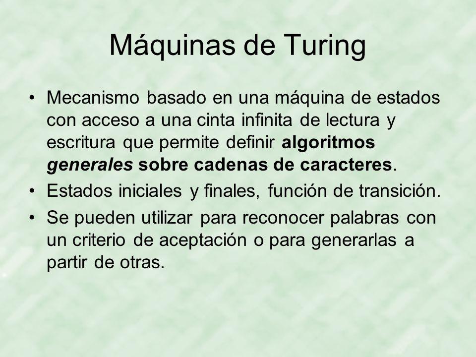 Máquinas de Turing Mecanismo basado en una máquina de estados con acceso a una cinta infinita de lectura y escritura que permite definir algoritmos ge