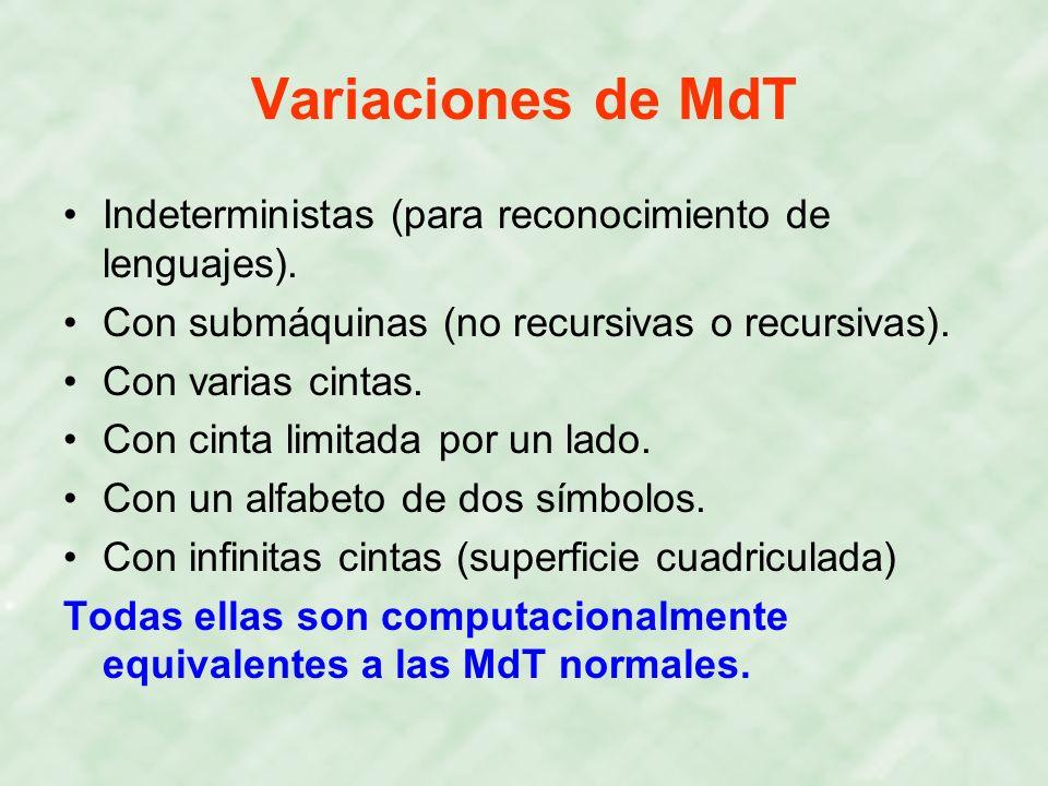 Variaciones de MdT Indeterministas (para reconocimiento de lenguajes). Con submáquinas (no recursivas o recursivas). Con varias cintas. Con cinta limi