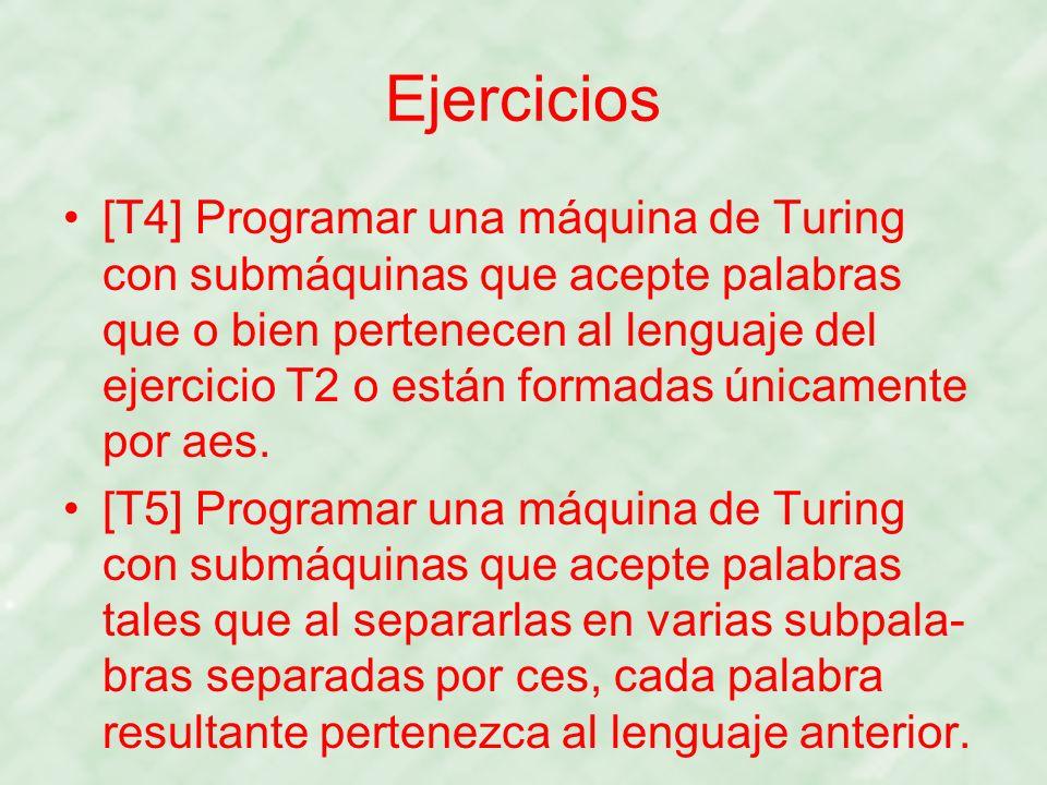 Ejercicios [T4] Programar una máquina de Turing con submáquinas que acepte palabras que o bien pertenecen al lenguaje del ejercicio T2 o están formada