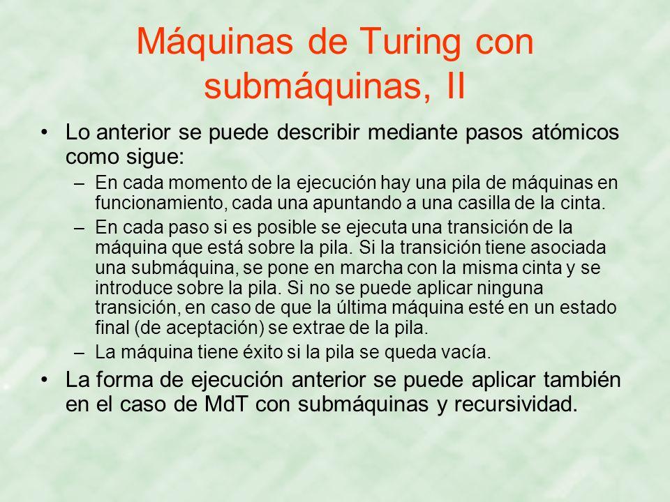 Máquinas de Turing con submáquinas, II Lo anterior se puede describir mediante pasos atómicos como sigue: –En cada momento de la ejecución hay una pil