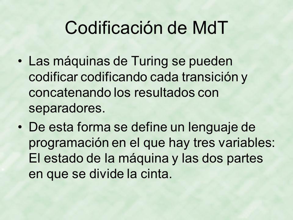 Codificación de MdT Las máquinas de Turing se pueden codificar codificando cada transición y concatenando los resultados con separadores. De esta form