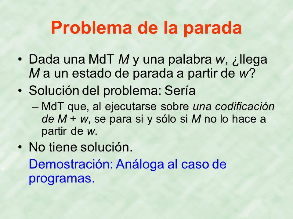Problema de la parada Dada una MdT M y una palabra w, ¿llega M a un estado de parada a partir de w? Solución del problema: Sería –MdT que, al ejecutar