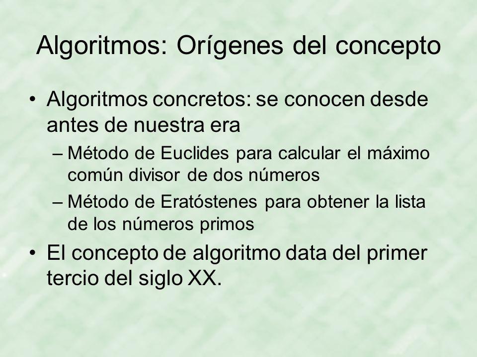 Algoritmos: Orígenes del concepto Algoritmos concretos: se conocen desde antes de nuestra era –Método de Euclides para calcular el máximo común diviso