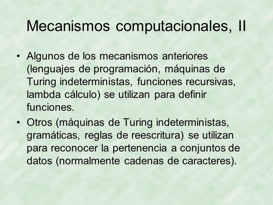 Mecanismos computacionales, II Algunos de los mecanismos anteriores (lenguajes de programación, máquinas de Turing indeterministas, funciones recursiv