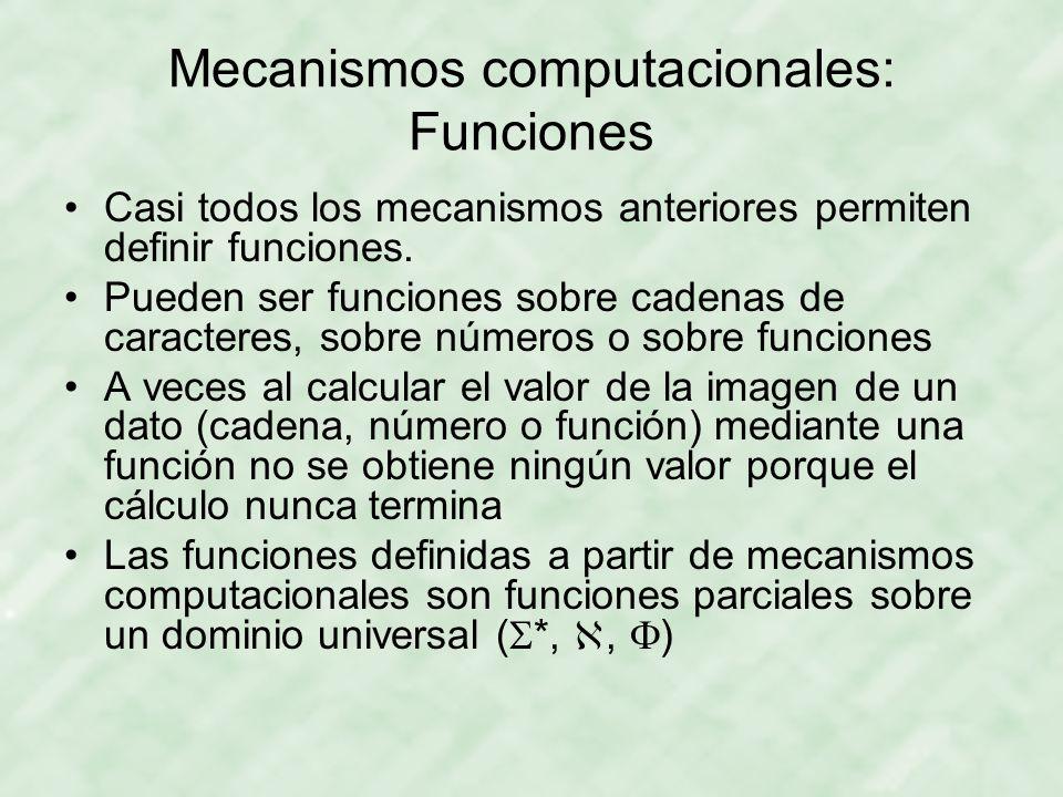 Mecanismos computacionales: Funciones Casi todos los mecanismos anteriores permiten definir funciones. Pueden ser funciones sobre cadenas de caractere