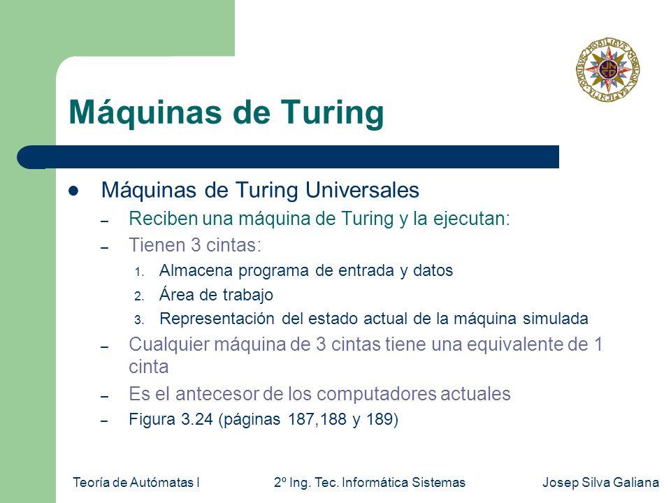Teoría de Autómatas I2º Ing. Tec. Informática SistemasJosep Silva Galiana Máquinas de Turing Máquinas de Turing Universales – Reciben una máquina de T