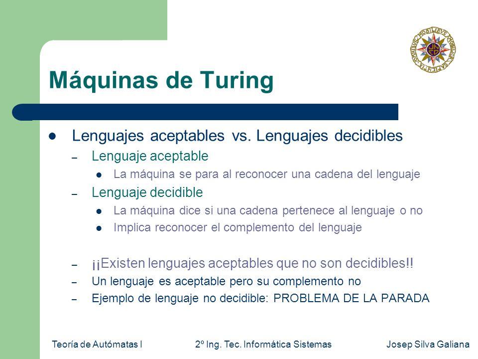 Teoría de Autómatas I2º Ing. Tec. Informática SistemasJosep Silva Galiana Máquinas de Turing Lenguajes aceptables vs. Lenguajes decidibles – Lenguaje