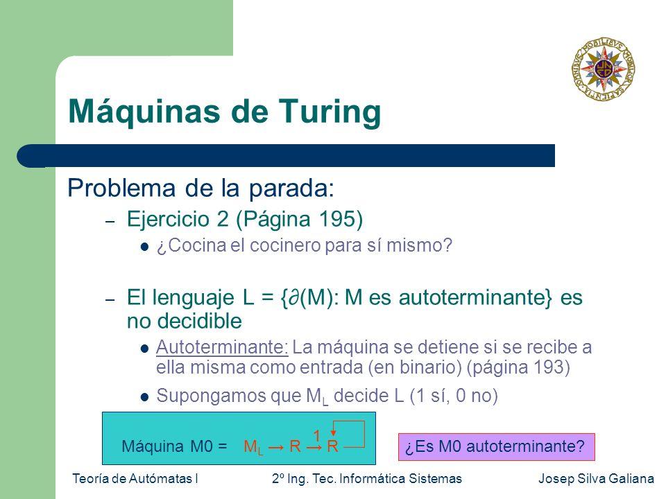 Teoría de Autómatas I2º Ing. Tec. Informática SistemasJosep Silva Galiana Máquinas de Turing Problema de la parada: – Ejercicio 2 (Página 195) ¿Cocina