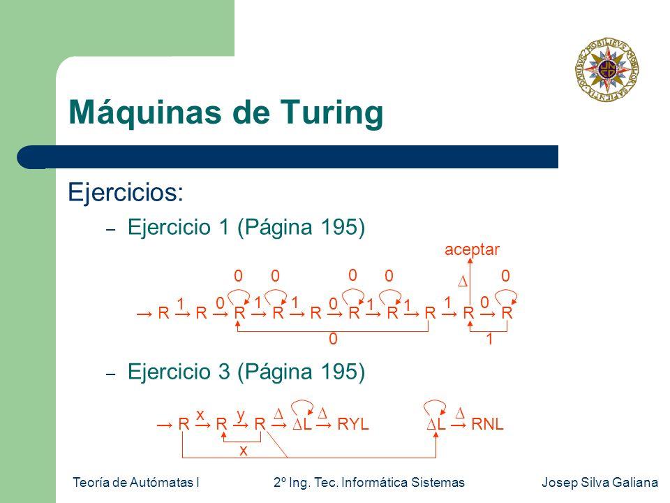 Teoría de Autómatas I2º Ing. Tec. Informática SistemasJosep Silva Galiana Máquinas de Turing Ejercicios: – Ejercicio 1 (Página 195) – Ejercicio 3 (Pág