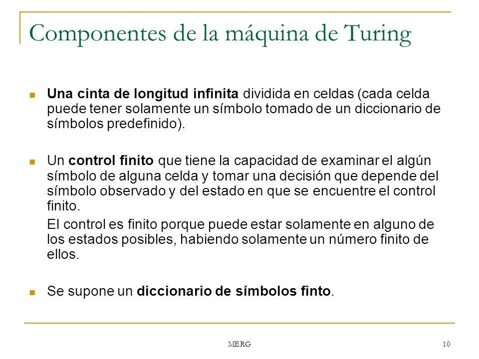 MERG 10 Componentes de la máquina de Turing Una cinta de longitud infinita dividida en celdas (cada celda puede tener solamente un símbolo tomado de u