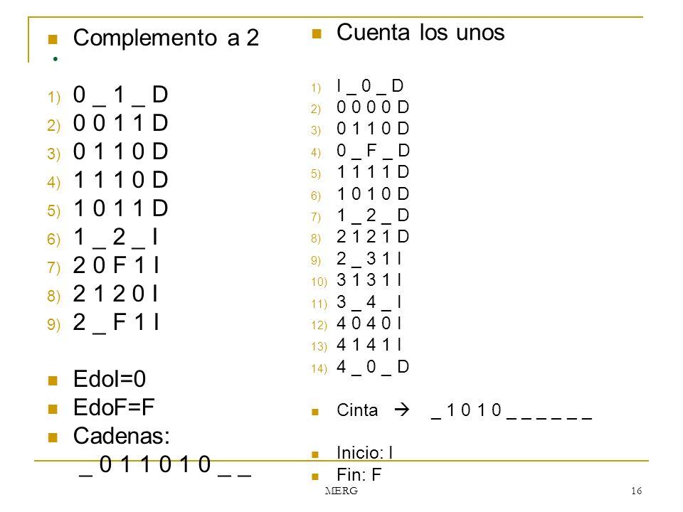 MERG 16. Complemento a 2 1) 0 _ 1 _ D 2) 0 0 1 1 D 3) 0 1 1 0 D 4) 1 1 1 0 D 5) 1 0 1 1 D 6) 1 _ 2 _ I 7) 2 0 F 1 I 8) 2 1 2 0 I 9) 2 _ F 1 I EdoI=0 E
