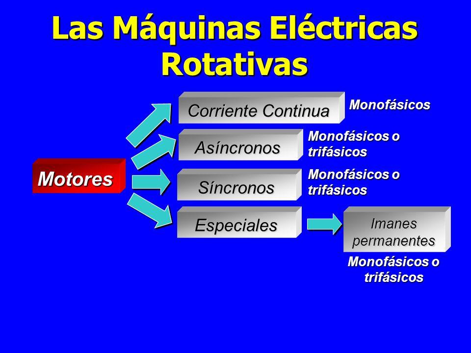 Las Máquinas Eléctricas Rotativas Motores Corriente Continua Asíncronos Síncronos Especiales Imanes permanentes Monofásicos o trifásicos Monofásicos