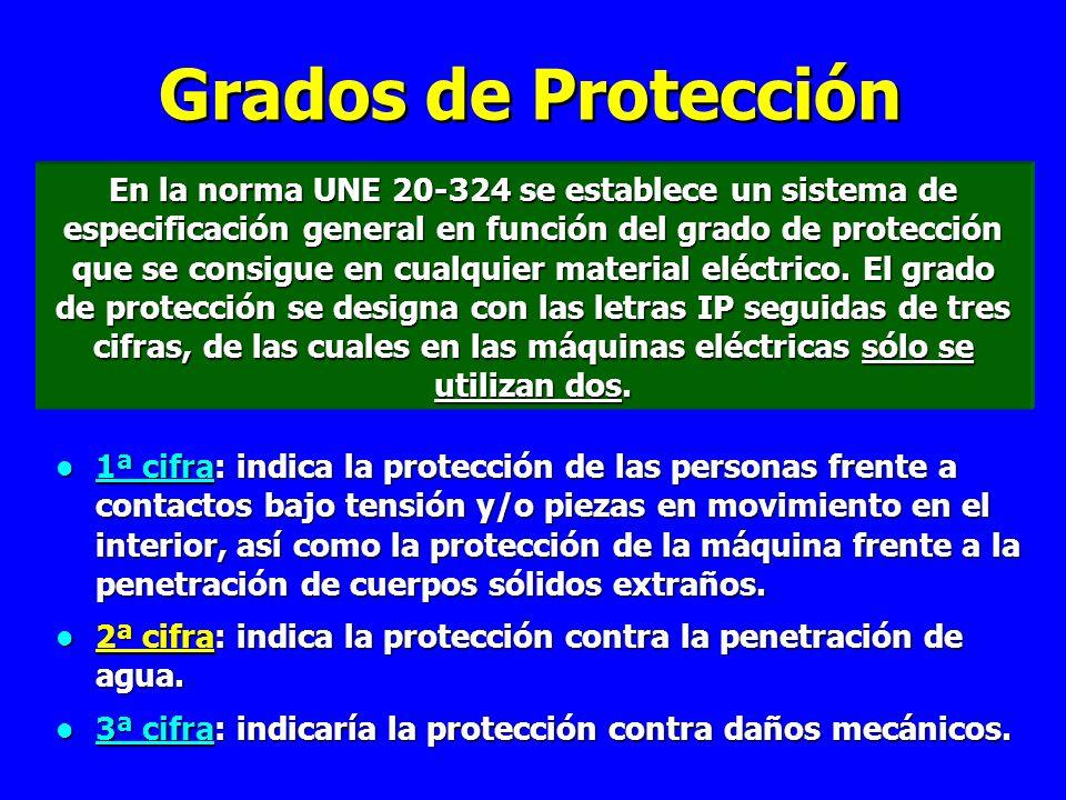 Grados de Protección En la norma UNE 20-324 se establece un sistema de especificación general en función del grado de protección que se consigue en cualquier material eléctrico.