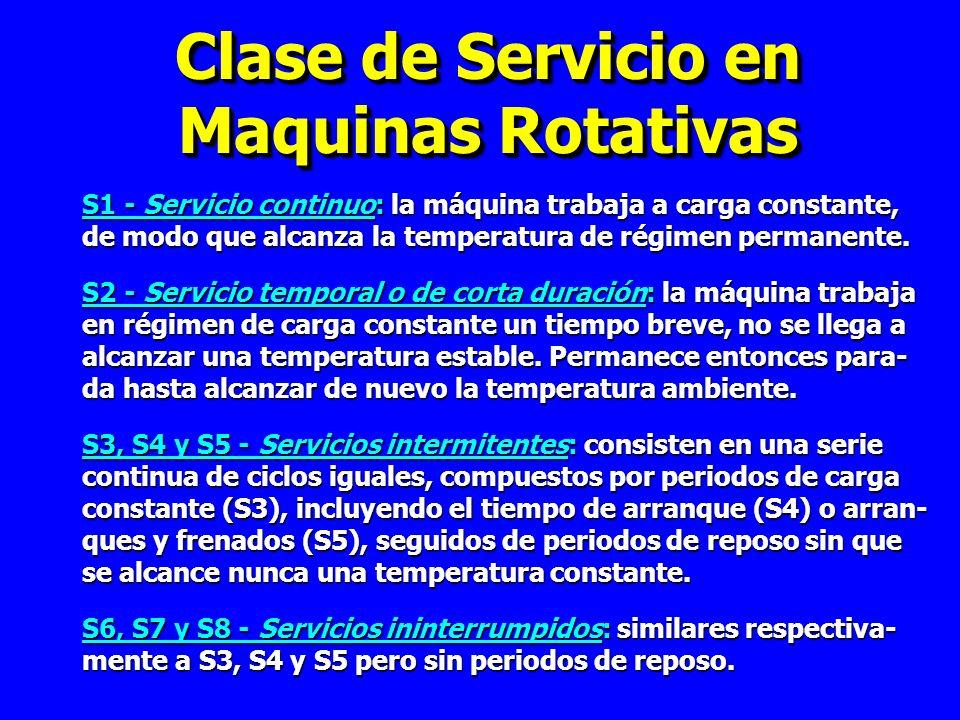 Clase de Servicio en Maquinas Rotativas S1 - Servicio continuo: la máquina trabaja a carga constante, de modo que alcanza la temperatura de régimen permanente.