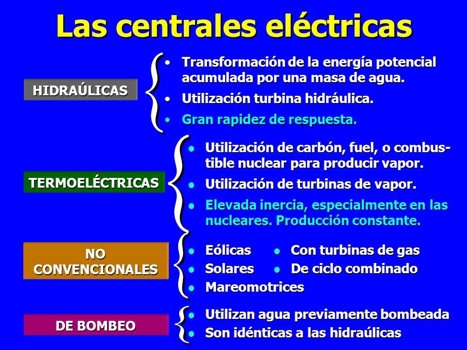 Las centrales eléctricas HIDRAÚLICAS Transformación de la energía potencial acumulada por una masa de agua.Transformación de la energía potencial acumulada por una masa de agua.