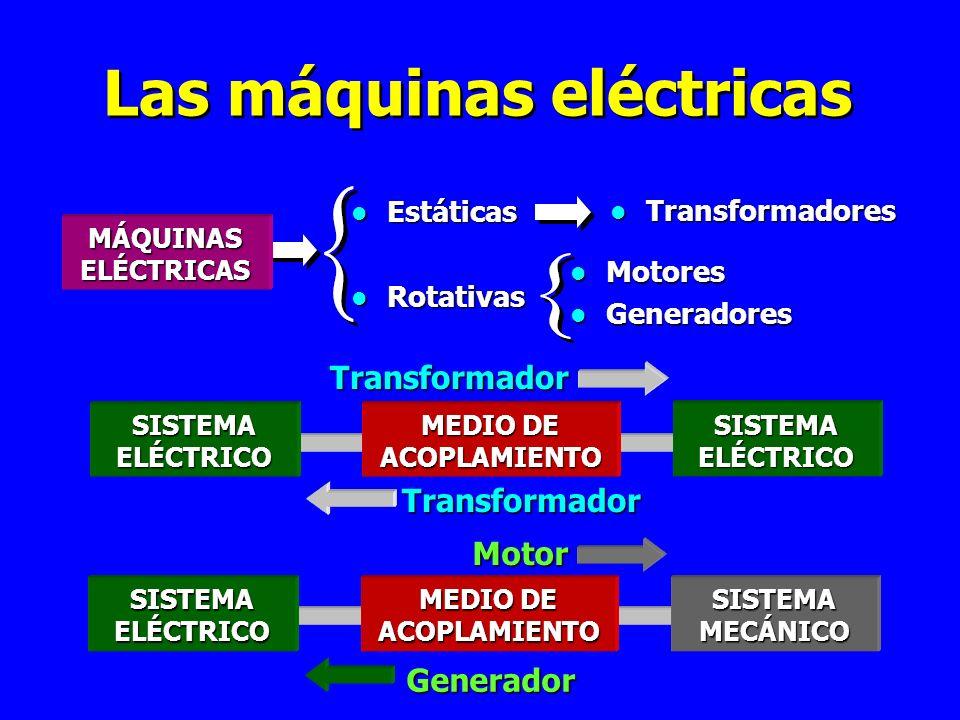 Las máquinas eléctricas l Estáticas l Rotativas l Transformadores l Motores l Generadores SISTEMAELÉCTRICO SISTEMAELÉCTRICO MEDIO DE ACOPLAMIENTO SISTEMAELÉCTRICO SISTEMAMECÁNICO ACOPLAMIENTO MÁQUINAS ELÉCTRICAS Transformador Transformador Generador Motor