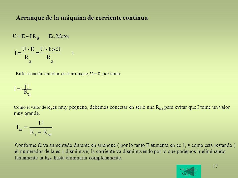 17 1 ver circuito Maq. CC En la ecuación anterior, en el arranque, = 0, por tanto: Como el valor de R a es muy pequeño, debemos conectar en serie una