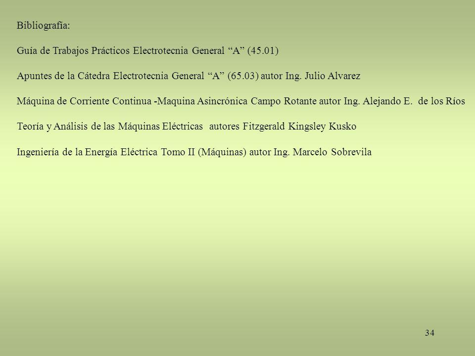 34 Bibliografía: Guía de Trabajos Prácticos Electrotecnia General A (45.01) Apuntes de la Cátedra Electrotecnia General A (65.03) autor Ing. Julio Alv