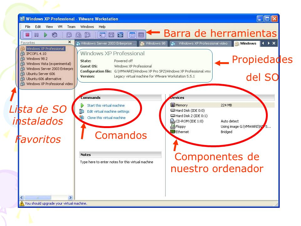 Barra de herramientas VMWARE 1.Parar el SO Parar el PC virtual 2.Suspender SO Suspender el PC 3.Arrancar el SO Arrancar el PC 4.Pantalla completa 5.Pantalla sin barras de herramientas 132 45