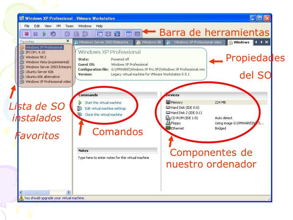 Componentes de nuestro ordenador Comandos Lista de SO instalados Favoritos Propiedades del SO Barra de herramientas