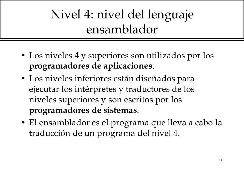 10 Nivel 4: nivel del lenguaje ensamblador Los niveles 4 y superiores son utilizados por los programadores de aplicaciones. Los niveles inferiores est