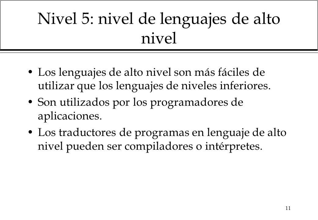11 Nivel 5: nivel de lenguajes de alto nivel Los lenguajes de alto nivel son más fáciles de utilizar que los lenguajes de niveles inferiores. Son util