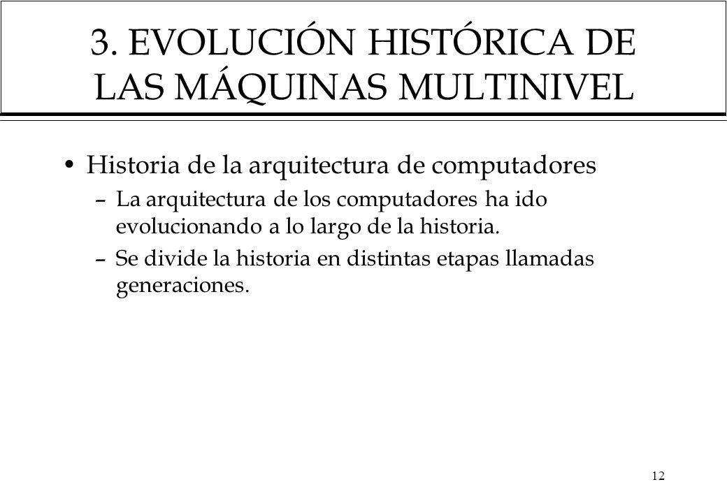 12 3. EVOLUCIÓN HISTÓRICA DE LAS MÁQUINAS MULTINIVEL Historia de la arquitectura de computadores –La arquitectura de los computadores ha ido evolucion