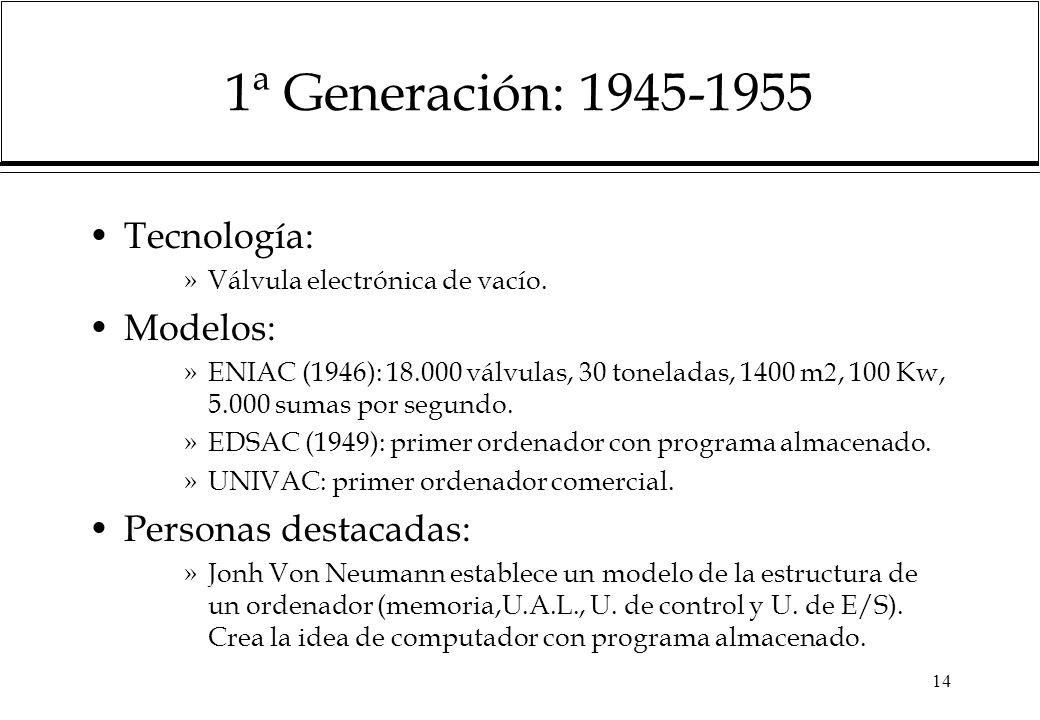 14 1ª Generación: 1945-1955 Tecnología: »Válvula electrónica de vacío. Modelos: »ENIAC (1946): 18.000 válvulas, 30 toneladas, 1400 m, 100 Kw, 5.000 su