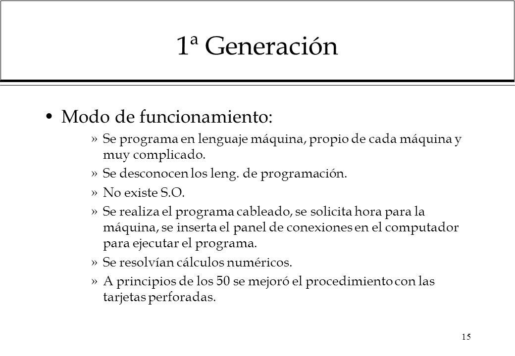 15 1ª Generación Modo de funcionamiento: »Se programa en lenguaje máquina, propio de cada máquina y muy complicado. »Se desconocen los leng. de progra
