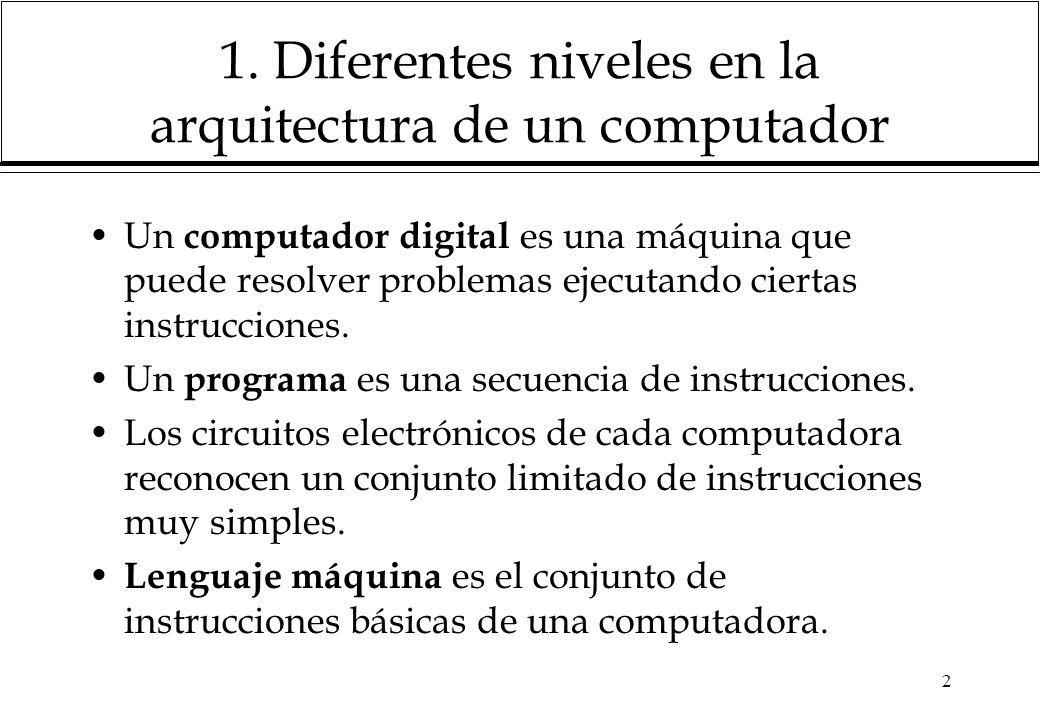2 1. Diferentes niveles en la arquitectura de un computador Un computador digital es una máquina que puede resolver problemas ejecutando ciertas instr