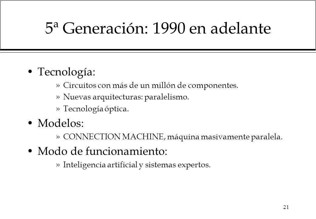 21 5ª Generación: 1990 en adelante Tecnología: »Circuitos con más de un millón de componentes. »Nuevas arquitecturas: paralelismo. »Tecnología óptica.