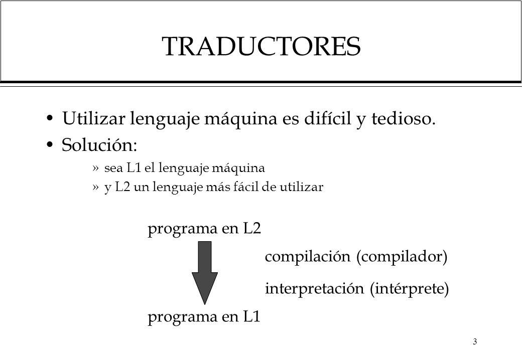 3 TRADUCTORES Utilizar lenguaje máquina es difícil y tedioso. Solución: »sea L1 el lenguaje máquina »y L2 un lenguaje más fácil de utilizar programa e