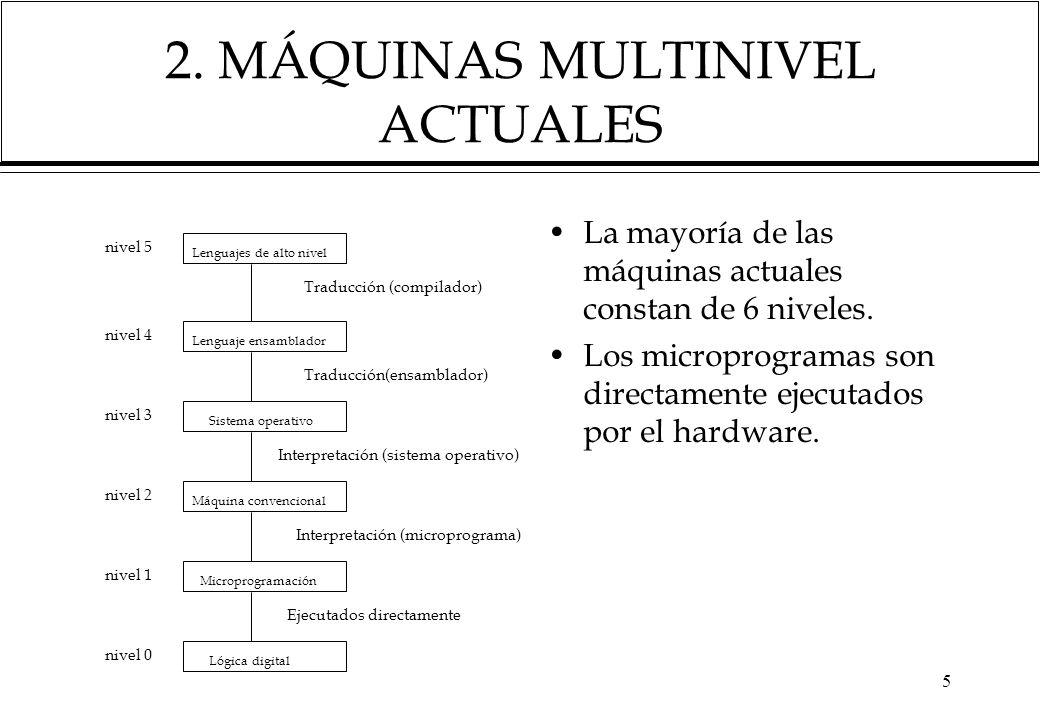 5 2. MÁQUINAS MULTINIVEL ACTUALES La mayoría de las máquinas actuales constan de 6 niveles. Los microprogramas son directamente ejecutados por el hard