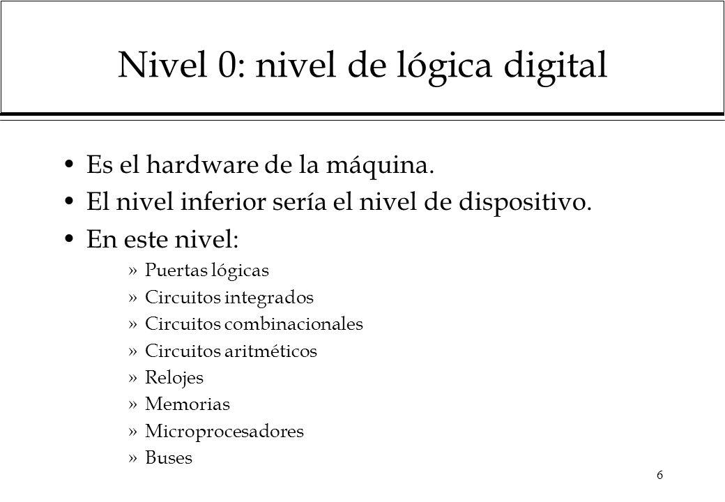6 Nivel 0: nivel de lógica digital Es el hardware de la máquina. El nivel inferior sería el nivel de dispositivo. En este nivel: »Puertas lógicas »Cir