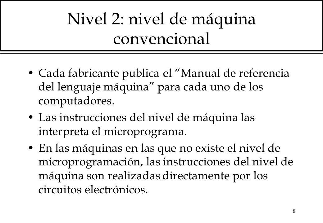 8 Nivel 2: nivel de máquina convencional Cada fabricante publica el Manual de referencia del lenguaje máquina para cada uno de los computadores. Las i