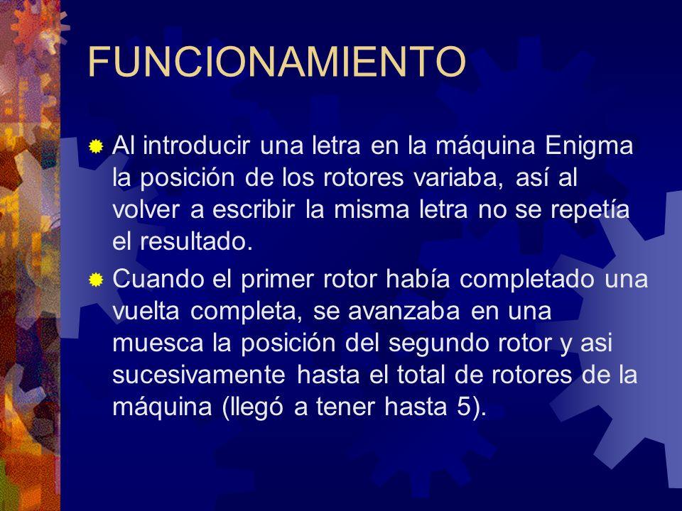 FUNCIONAMIENTO Al introducir una letra en la máquina Enigma la posición de los rotores variaba, así al volver a escribir la misma letra no se repetía