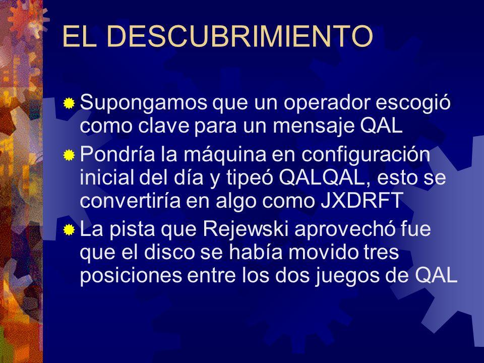 EL DESCUBRIMIENTO Supongamos que un operador escogió como clave para un mensaje QAL Pondría la máquina en configuración inicial del día y tipeó QALQAL