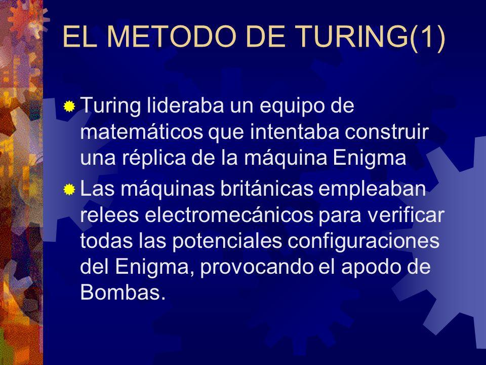 EL METODO DE TURING(1) Turing lideraba un equipo de matemáticos que intentaba construir una réplica de la máquina Enigma Las máquinas británicas emple