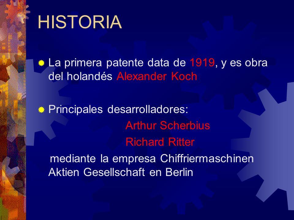 HISTORIA La primera patente data de 1919, y es obra del holandés Alexander Koch Principales desarrolladores: Arthur Scherbius Richard Ritter mediante