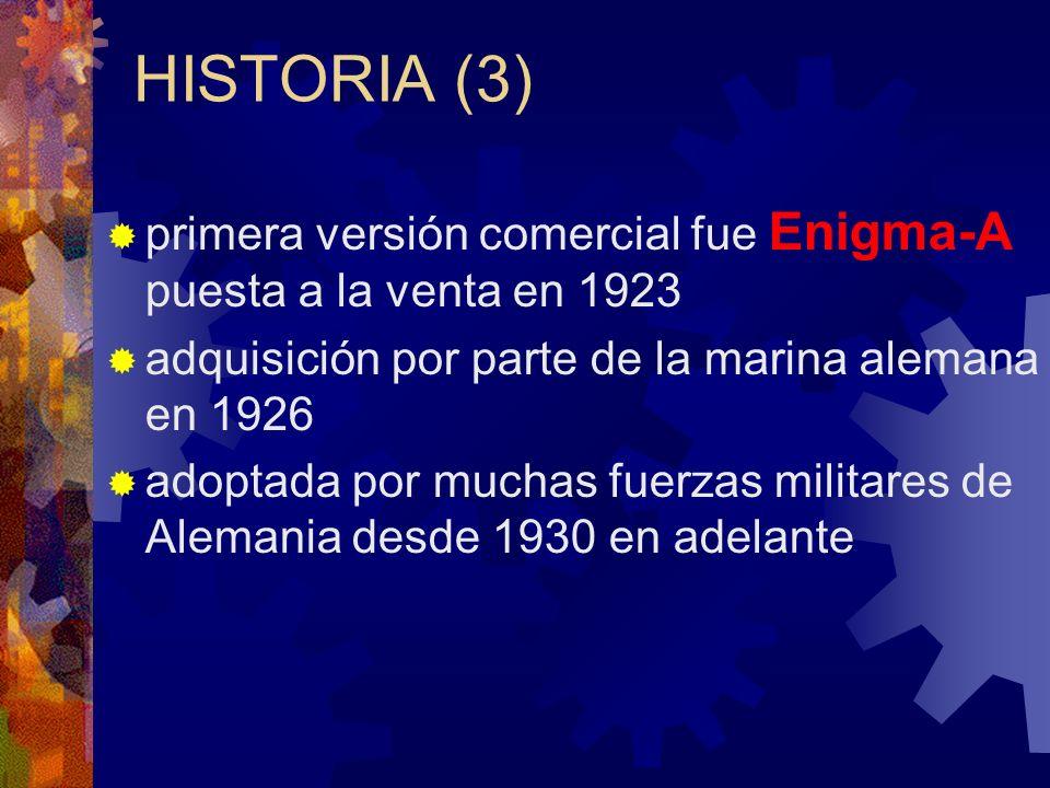 HISTORIA (3) primera versión comercial fue Enigma-A puesta a la venta en 1923 adquisición por parte de la marina alemana en 1926 adoptada por muchas f