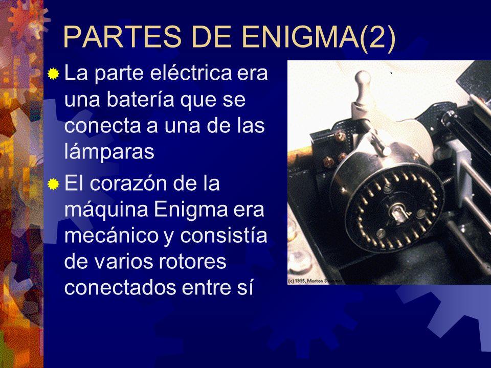 PARTES DE ENIGMA(2) La parte eléctrica era una batería que se conecta a una de las lámparas El corazón de la máquina Enigma era mecánico y consistía d