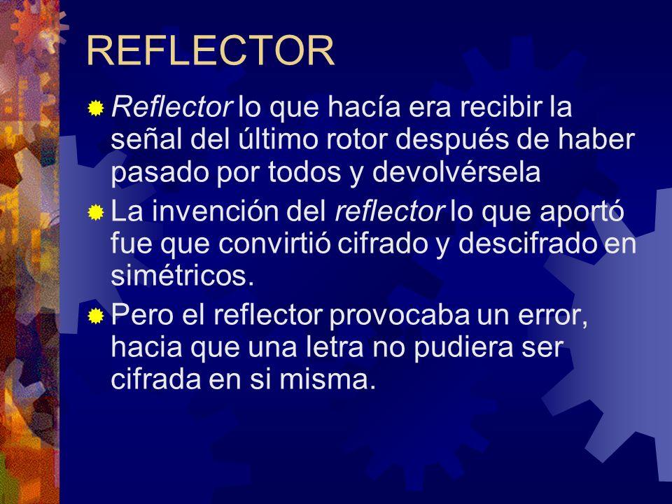 REFLECTOR Reflector lo que hacía era recibir la señal del último rotor después de haber pasado por todos y devolvérsela La invención del reflector lo