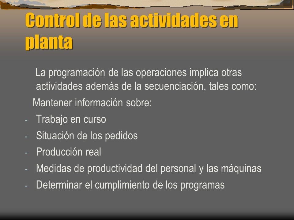 Control de las actividades en planta La programación de las operaciones implica otras actividades además de la secuenciación, tales como: Mantener información sobre: - Trabajo en curso - Situación de los pedidos - Producción real - Medidas de productividad del personal y las máquinas - Determinar el cumplimiento de los programas