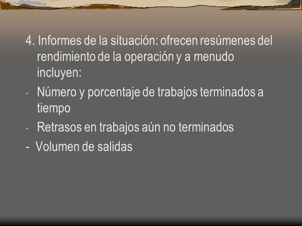 4. Informes de la situación: ofrecen resúmenes del rendimiento de la operación y a menudo incluyen: - Número y porcentaje de trabajos terminados a tie