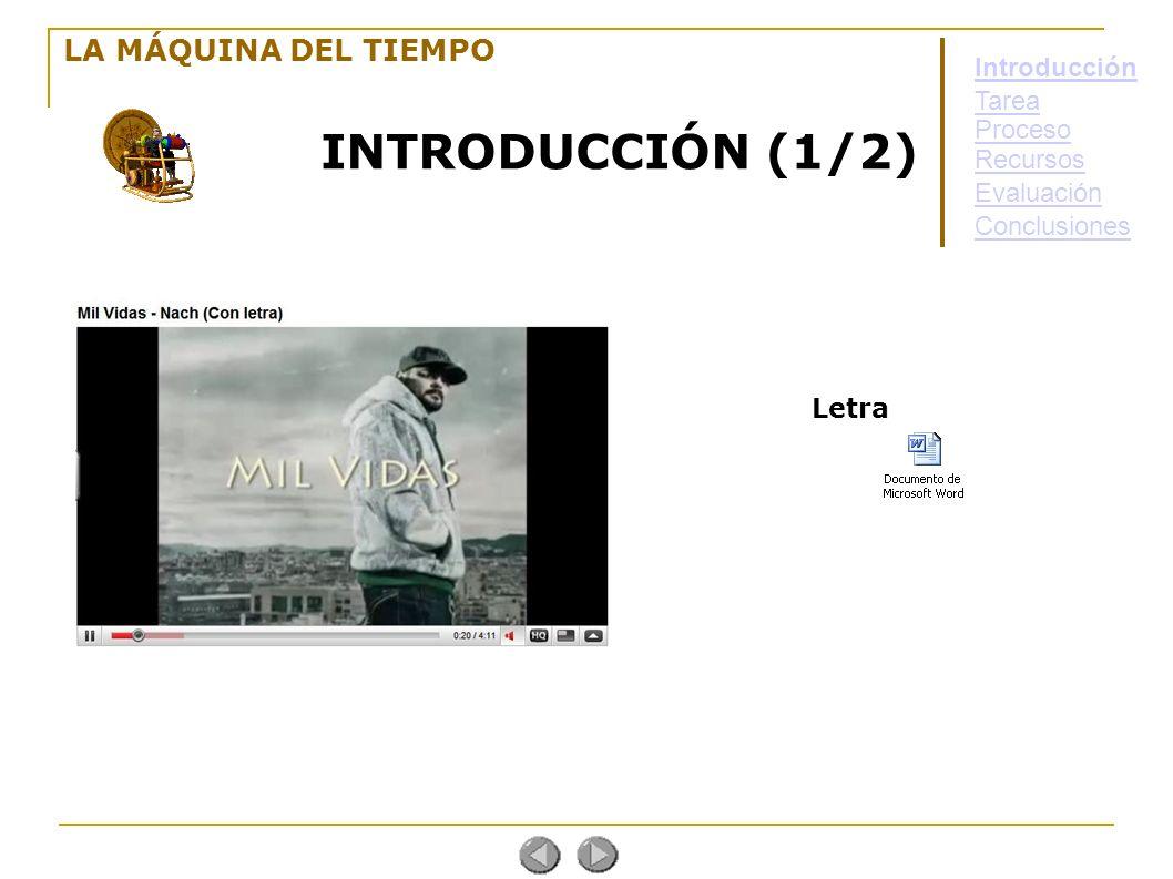 LA MÁQUINA DEL TIEMPO INTRODUCCIÓN (1/2) Letra Introducción Tarea Proceso Evaluación Conclusiones Recursos