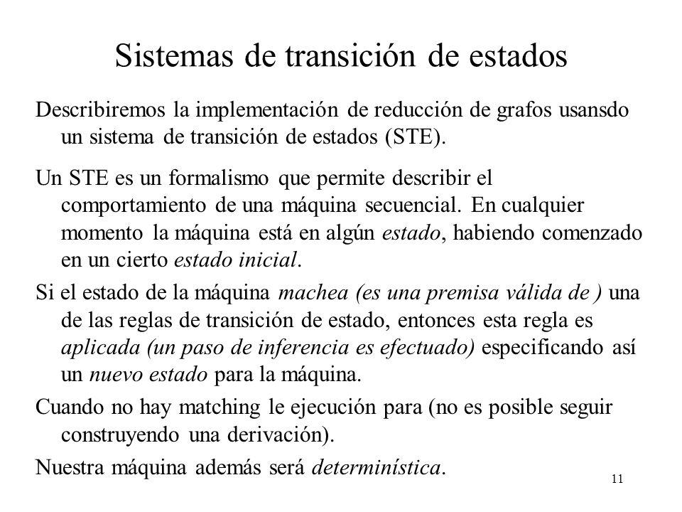 11 Sistemas de transición de estados Describiremos la implementación de reducción de grafos usansdo un sistema de transición de estados (STE).