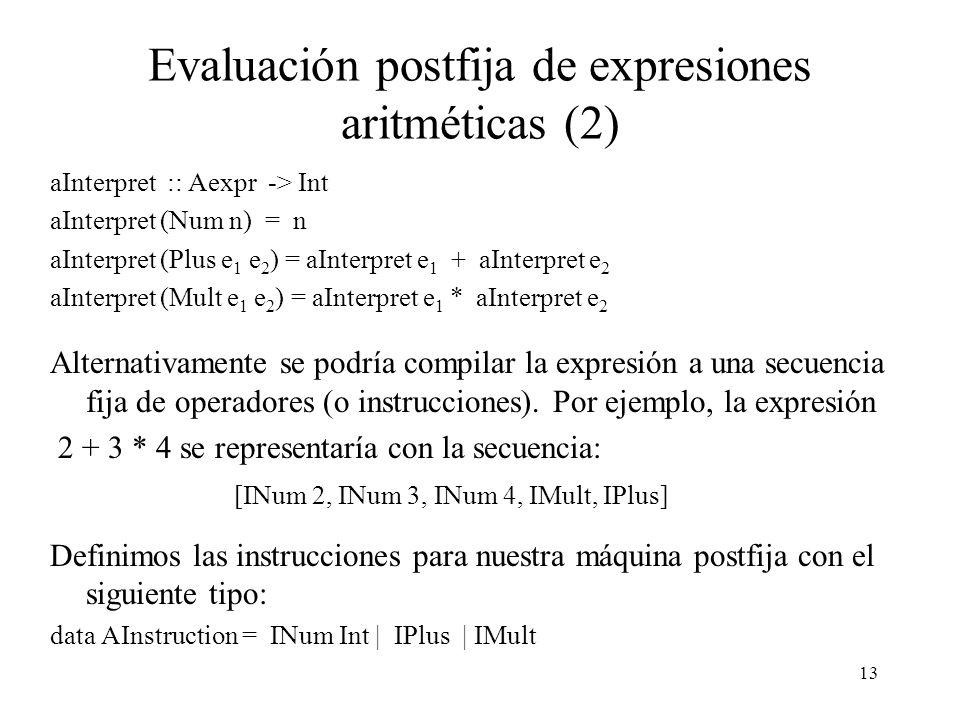 13 Evaluación postfija de expresiones aritméticas (2) aInterpret :: Aexpr -> Int aInterpret (Num n) = n aInterpret (Plus e 1 e 2 ) = aInterpret e 1 + aInterpret e 2 aInterpret (Mult e 1 e 2 ) = aInterpret e 1 * aInterpret e 2 Alternativamente se podría compilar la expresión a una secuencia fija de operadores (o instrucciones).